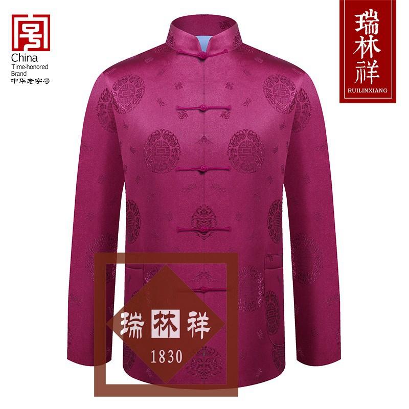 男式仿蚕丝寿衣全套紫4号