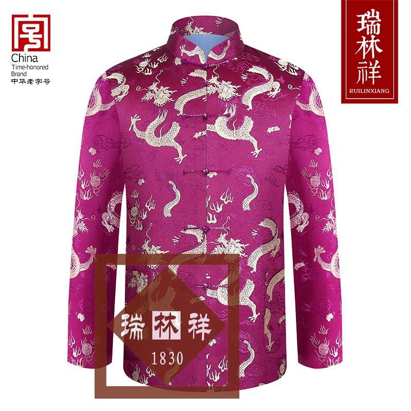 男式仿蚕丝寿衣全套紫1号